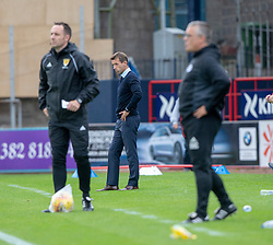 Dundee's manager Neil McCann after Genseric Kusunga tackled Ayr United's Mike Moffat and gots a red card. Dundee 0 v 3 Ayr United, Scottish League Cup Second Round, played 18/8/2018 at the Kilmac Stadium at Dens Park, Scotland.