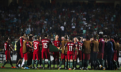 October 10, 2017 - Lisbon, Portugal - Portugal's forward Cristiano Ronaldo (C) celebrating their victory  with temmates during the FIFA 2018 World Cup Qualifier match between Portugal and Switzerland at the Luz Stadium on October 10, 2017 in Lisbon, Portugal. NURPHOTO / CARLOS COSTA  (Credit Image: © Carlos Costa/NurPhoto via ZUMA Press)