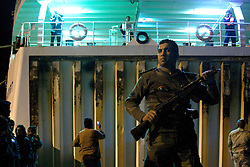 © licensed to London News Pictures. BENGHAZI, LIBYA. 18/04/11. The Greek ship Ionian Spirit arrives at Benghazi carrying wounded civilians evacuated from Misrata. See special instructions for usage rates. Photo credit should read  ISMAIL NEGM/LNP