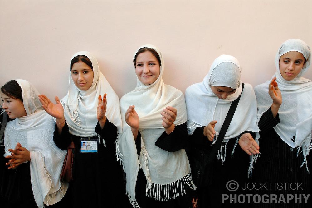 KUNDUZ, AFGHANISTAN - NOV-07-2006 - Stuents attend an all girl school  in Kunduz, which was built by the German / Belgian PRT program ( Provincial Reconstruction Team ). The school has  6000 female students. (Photo © Jock Fistick)