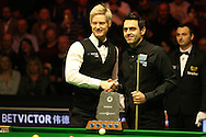 the two players shake hands before the match . Ronnie O'Sullivan (r) v Neil Robertson final.Betvictor Welsh Open snooker 2016, Final day at the Motorpoint Arena in Cardiff, South Wales on Sunday 21st  Feb 2016.  <br /> pic by Andrew Orchard, Andrew Orchard sports photography.