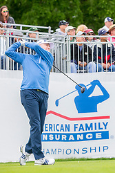 June 22, 2018 - Madison, WI, U.S. - MADISON, WI - JUNE 22: Steve Flesch tees off on the first tee during the American Family Insurance Championship Champions Tour golf tournament on June 22, 2018 at University Ridge Golf Course in Madison, WI. (Photo by Lawrence Iles/Icon Sportswire) (Credit Image: © Lawrence Iles/Icon SMI via ZUMA Press)
