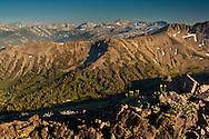Overlooking mountain peaks of the High Sierra from Leavitt Pass, Emigrant Wilderness, California