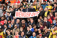 Arsenal fans show their feelings and hold up their 'Wenger Out ' banner. Premier league match, Stoke City v Arsenal at the Bet365 Stadium in Stoke on Trent, Staffs on Saturday 13th May 2017.<br /> pic by Bradley Collyer, Andrew Orchard sports photography.
