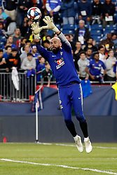 May 15, 2019 - Foxborough, MA, U.S. - FOXBOROUGH, MA - MAY 15: Chelsea FC goalkeeper Willy Caballero (13) hauls in a cross before the Final Whistle on Hate match between the New England Revolution and Chelsea Football Club on May 15, 2019, at Gillette Stadium in Foxborough, Massachusetts. (Photo by Fred Kfoury III/Icon Sportswire) (Credit Image: © Fred Kfoury Iii/Icon SMI via ZUMA Press)