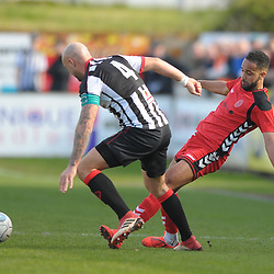 TELFORD COPYRIGHT MIKE SHERIDAN 6/4/2019 - Brendon Daniels of AFC Telford battles for the ball with Andy Teague during the Vanarama Conference North fixture between Chorley FC and AFC Telford United at Victory Park