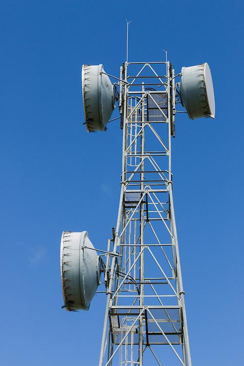 microwave parabolic dish antenna radio link on lattice tower in Gumlu, Queensland, Australia <br /> <br /> Editions:- Open Edition Print / Stock Image