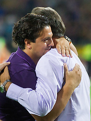Ante Cacic, head coach of Maribor (R) and Zlatko Zahovic celebrate after the football match between NK Maribor and APOEL FC, (Cyprus) in Third qualifying round, Second leg of UEFA Champions League 2014, on August 6, 2013 in Stadium Ljudski vrt, Maribor, Slovenia. (Photo by Vid Ponikvar / Sportida.com)