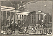 'A Royal Mail coach leaving the General Post Office, St Martin's le Grand, London. Woodcut, 1832.'