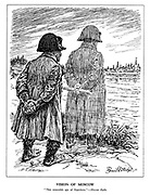 """Vision of Moscow. """"This miserable ape of Napoleon."""" - Moscow Radio. (Hitler strikes a Napoleonic pose as the ghost of Napoleon looks ahead to Moscow)"""