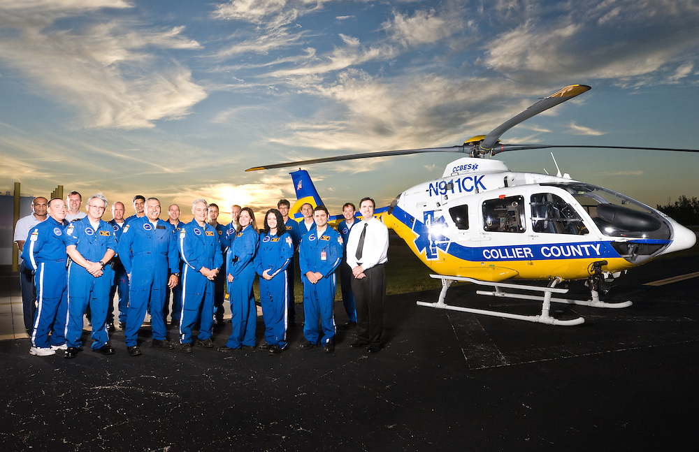 The crew from the Collier County Med Flight 1 poses for a portrait in Naples, Florida.