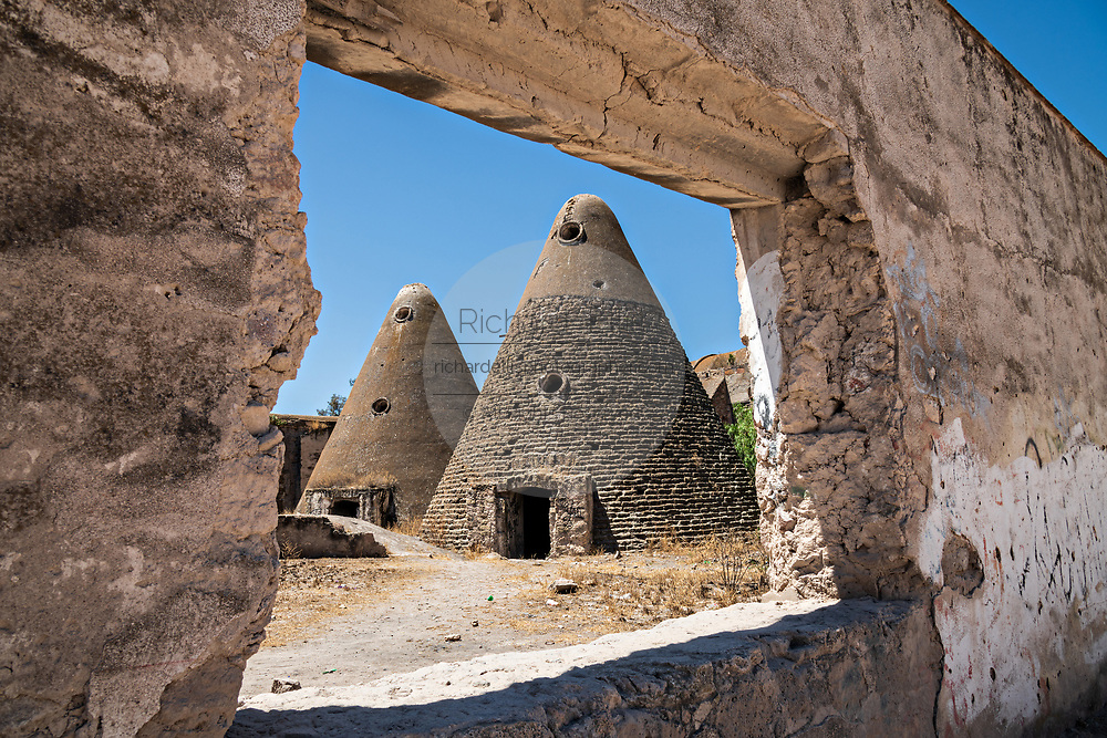 The pyramid shaped granaries of the Hacienda de Jaral de Berrio in Jaral de Berrios, Guanajuato, Mexico. The abandoned Jaral de Berrio hacienda was once the largest in Mexico and housed over 6,000 people on the property and is credited with creating Mescal.