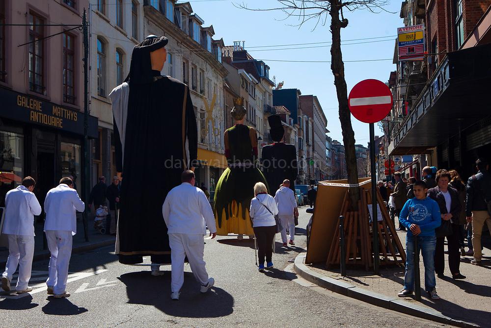 Geants du quartier Bruegel, Brussels. Parade of giants on Rue Haute, Brussels