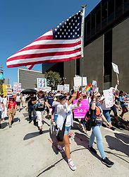August 26, 2017 - Los Angeles, California, U.S. - People gather in downtown Los Angeles to commemorate the 97th anniversary of the 19th Amendment, which gave women the right to vote in August of 1920. (Credit Image: © Brian Cahn via ZUMA Wire)