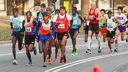 lead pack of elite men in Central Park, Sambu, Meb, Mutai, Barrios