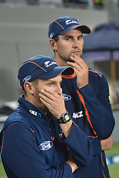 February 17, 2017 - Auckland, New Zealand - New Zealand coach Mike Hesson reacts after losing the international Twenty20 cricket match between South Africa and New Zealand. (Credit Image: © Shirley Kwok/Pacific Press via ZUMA Wire)