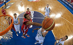 Hamed Ehadadi of Iran vs Goran Dragic of Slovenia during  the Preliminary Round - Group B basketball match between National teams of Slovenia and Iran at 2010 FIBA World Championships on September 2, 2010 at Abdi Ipekci Arena in Istanbul, Turkey. (Photo By Vid Ponikvar / Sportida.com)