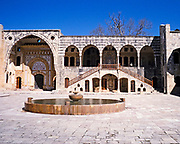 Water fountain in patio of Beit Eddine, Beit ed-Dine, Beiteddine Palace of Emir Bashir, Chouf, Lebanon 1998