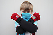 a young West Ham Untied fan poses for a photo outside London Stadium before k/o. Premier league match, West Ham Utd v West Bromwich Albion at the London Stadium, Queen Elizabeth Olympic Park in London on Saturday 11th February 2017.<br /> pic by John Patrick Fletcher, Andrew Orchard sports photography.