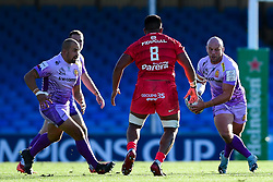 Jack Yeandle of Exeter Chiefs is marked by Selevasio Tolofua of Toulouse - Mandatory by-line: Ryan Hiscott/JMP - 26/09/2020 - RUGBY - Sandy Park - Exeter, England - Exeter Chiefs v Toulouse - Heineken Champions Cup Semi Final