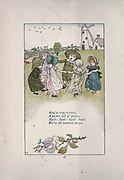 Ring-a - ring -a- roses, A pocket full of posies; Hush! hush! Hush! hush! We're all tumbled down from the book Mother Goose : or, The old nursery rhymes by Kate Greenaway, Engraved and Printed by Edmund Evans published in 1881 by George Routledge and Sons London nad New York