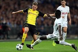 13 September 2017 - Champions League Football - Tottenham Hotspur v Borussia Dortmund - Davinson Sanchez of Tottenham intercepts Lukasz Piszczek of Dortmund - Photo: Charlotte Wilson
