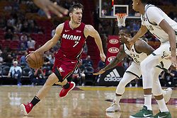 January 14, 2018 - Miami, FL, USA - Miami Heat guard Goran Dragic (7) drives the ball down the court in the first quarter against the Milwaukee Bucks on Sunday, Jan. 14, 2018 at the AmericanAirlines Arena in Miami, Fla. (Credit Image: © Matias J. Ocner/TNS via ZUMA Wire)