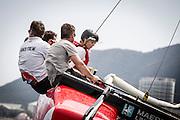 """MAPFRE"", ""DONGFENG"", VOLVO OCEAN RACE, y MAERSK, navegando en el Extreme 40 en Sanya. / ""MAPFRE"", ""DONGFENG"", VOLVO OCEAN RACE, and MAERSK, sailing on the Extreme 40 in Sanya."