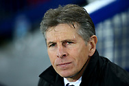 Leicester City Manager Claude Puel looks on from the dugout. Premier league match, Everton v Leicester City at Goodison Park in Liverpool, Merseyside on Wednesday 31st January 2018.<br /> pic by Chris Stading, Andrew Orchard sports photography.