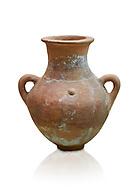 Hittite pottery vase from Hittite capital Hattusa, Hittite  Middle  Kingdom 1650-1450 BC, Bogazkale archaeological Museum, Turkey. White  background