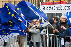 EU flags billow in the wind and an anti-EU bus passes in the background, outside the Houses of Parliament in London. London, January 14 2019.