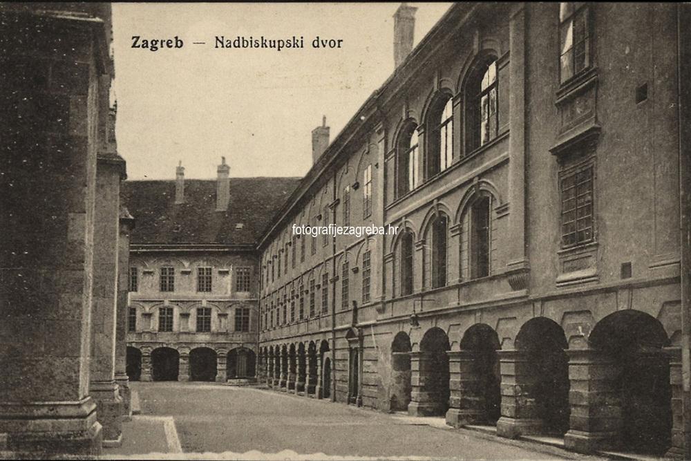 Zagreb : Nadbiskupski dvor. <br /> <br /> ImpresumZagreb : J. Mehaut Hrv. knjižara, [između 1914 i 1923].<br /> Materijalni opis1 razglednica : tisak ; 8,9 x 13,7 cm.<br /> Mjesto izdavanjaZagreb<br /> Vrstavizualna građa • razglednice<br /> ZbirkaGrafička zbirka NSK • Zbirka razglednica<br /> Formatimage/jpeg<br /> PredmetZagreb –– Kaptol<br /> Nadbiskupski dvor (Zagreb)<br /> SignaturaRZG-KAP-83<br /> Obuhvat(vremenski)20. stoljeće<br /> NapomenaRazglednica nije putovala.<br /> PravaJavno dobro<br /> Identifikatori000955806<br /> NBN.HRNBN: urn:nbn:hr:238:672579 <br /> <br /> Izvor: Digitalne zbirke Nacionalne i sveučilišne knjižnice u Zagrebu