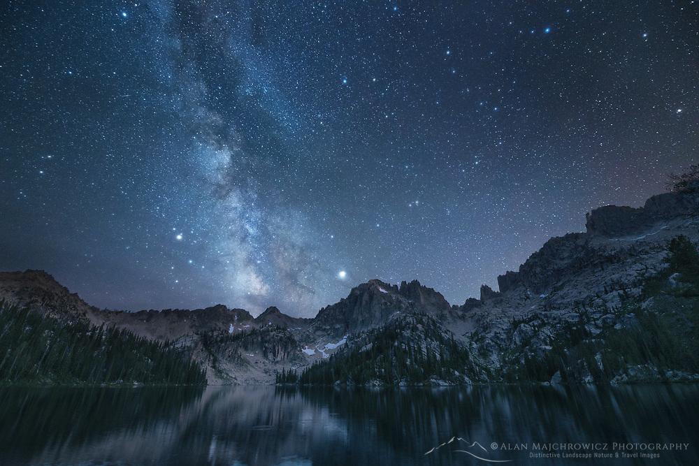 Milky Way over Baron Lake Sawtooth Mountains Idaho