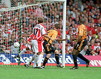 Nathan Blake (Wolves) far right, scores goal no.2 with a glancing header. Wolverhampton Wanderers v Sheffield United. Division One play off Final @ Cardiff's Millennium Stadium. 26/5/2003. Credit : Colorsport/Andrew Cowie.