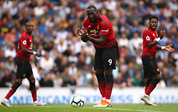 Manchester United's Romelu Lukaku (centre) urges his team-mates on after scoring his side's first goal of the game