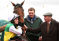 File photo dated 13-03-2008 of Jockey Tony McCoy (left) and owner Trevor Hemmings (right) with Albertas Run. Issue date: Tuesday October 12, 2021.