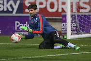 Middlesbrough goalkeeper Dimitrios Konstantopoulos (1)  during the Sky Bet Championship match between Rotherham United and Middlesbrough at the New York Stadium, Rotherham, England on 8 March 2016. Photo by Simon Davies.