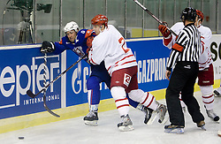 Tomaz Razingar of Slovenia vs Philip Hersby at ice-hockey friendly match between National teams of Slovenia and Denmark, on April 14, 2010, in Tivoli hall, Ljubljana, Slovenia.  (Photo by Vid Ponikvar / Sportida)