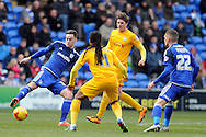 Cardiff City's Tom Lawrence (l) controls the ball faced by Preston's Daniel Johnson (11). Skybet football league championship match, Cardiff city v Preston NE at the Cardiff city stadium in Cardiff, South Wales on Saturday 27th Feb 2016.<br /> pic by Carl Robertson, Andrew Orchard sports photography.