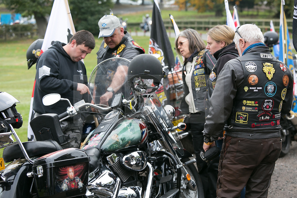 """© Licensed to London News Pictures. 3/10/2015, Tamworth, Staffordshire, UK. The eighth Ride to the Wall """"RTTW"""" took place today with thousands of motorcyclists arriving at the National Memorial Arboretum. Starting at eleven designated points around the country, the riders came from all over the UK as well as continental Europe.They rode to visit the walls of the Armed Forces Memorial where the names of 16,000 service men and women are engraved to remember those killed on duty or by terrorist action since the end of the Second World War. A display by the white helmets, tiger moth flypast and memorial service formed part of the day. Riders assembling at Drayton Manor Park before the ride to the NMA. Photo credit / Dave Warren/LNP"""