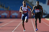 Chijindu Ujah running during the 100m heat race. The British Championships 2016, athletics event at the Alexander Stadium in Birmingham, Midlands  on Friday 24th June 2016.<br /> pic by John Patrick Fletcher, Andrew Orchard sports photography.