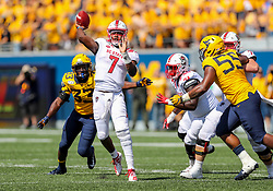 Sep 14, 2019; Morgantown, WV, USA; North Carolina State Wolfpack quarterback Matthew McKay (7) throws a pass during the third quarter against the West Virginia Mountaineers at Mountaineer Field at Milan Puskar Stadium. Mandatory Credit: Ben Queen-USA TODAY Sports