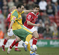 Photo: Aidan Ellis.<br /> Barnsley v Norwich City. Coca Cola Championship. 03/03/2007.<br /> Norwich's Lee Croft fires in the second goal