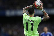 Aleksandar Kolarov of Manchester City taking a throw in. The Emirates FA Cup, 5th round match, Chelsea v Manchester city at Stamford Bridge in London on Sunday 21st Feb 2016.<br /> pic by John Patrick Fletcher, Andrew Orchard sports photography.