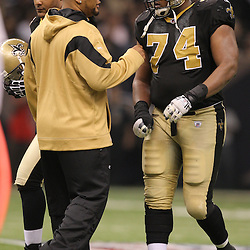 16 January 2010:  New Orleans Saints running back Deuce McAllister talks to offensive tackle Jermon Bushrod (74) during a 45-14 win by the New Orleans Saints over the Arizona Cardinals in a 2010 NFC Divisional Playoff game at the Louisiana Superdome in New Orleans, Louisiana.