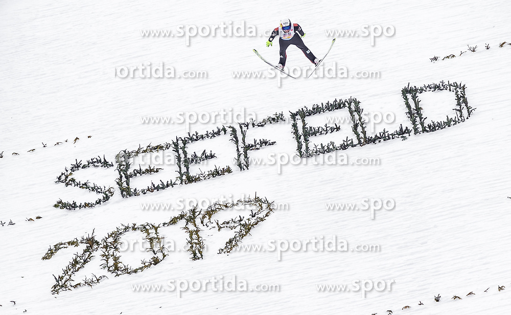 28.02.2019, Seefeld, AUT, FIS Weltmeisterschaften Ski Nordisch, Seefeld 2019, Nordische Kombination, Team Sprung, im Bild Maxime Laheurte (FRA) // Maxime Laheurte of France during Team Jumping competition for Nordic Combined of FIS Nordic Ski World Championships 2019. Seefeld, Austria on 2019/02/28. EXPA Pictures © 2019, PhotoCredit: EXPA/ JFK