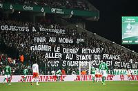 FOOTBALL - FRENCH CHAMPIONSHIP 2011/2012 - L1 - AS SAINT ETIENNE v MONTPELLIER HSC  - 6/11/2011 - PHOTO EDDY LEMAISTRE / DPPI - TIFO FOR SAINT ETIENNE PLAYERS