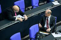 08 DEC 2020, BERLIN/GERMANY:<br /> Peter Altmaier (L), MdB, CDU, Bundeswirtschaftsminister, und Olaf Scholz (R), MdB, SPD, Bundesfinanzminister, im Gespraech, Haushaltsdebatte, Plenum, Reichstagsgebaeude, Deuscher Bundestag<br /> IMAGE: 20201208-02-062<br /> KEYWORDS: Gespräch