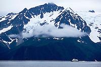 Scenic Mountain Landscape with Glaciers on Kenai Fjords Boat Tour, Alaska