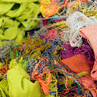 Europe, Ireland, Avoca. Avoca Handweavers Mill, County Wicklow. Scraps and discards at woollen mill.